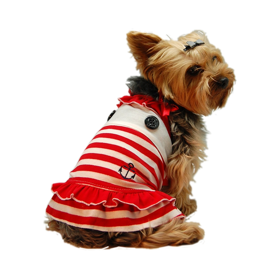 Designer dog stripe red dress w/rhinestone